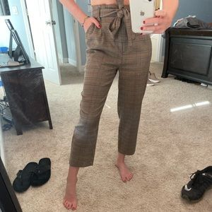 Forever 21 Paperbag Plaid Pants S